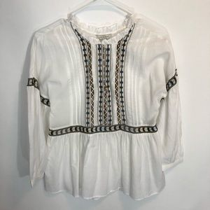 Lucky Brand Shirt XS White Embroidered Peasant